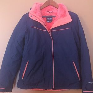 Barely worn navy and coral Northface coat